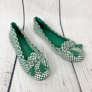 Tory Burch Green & White Checkered Flats Loafers